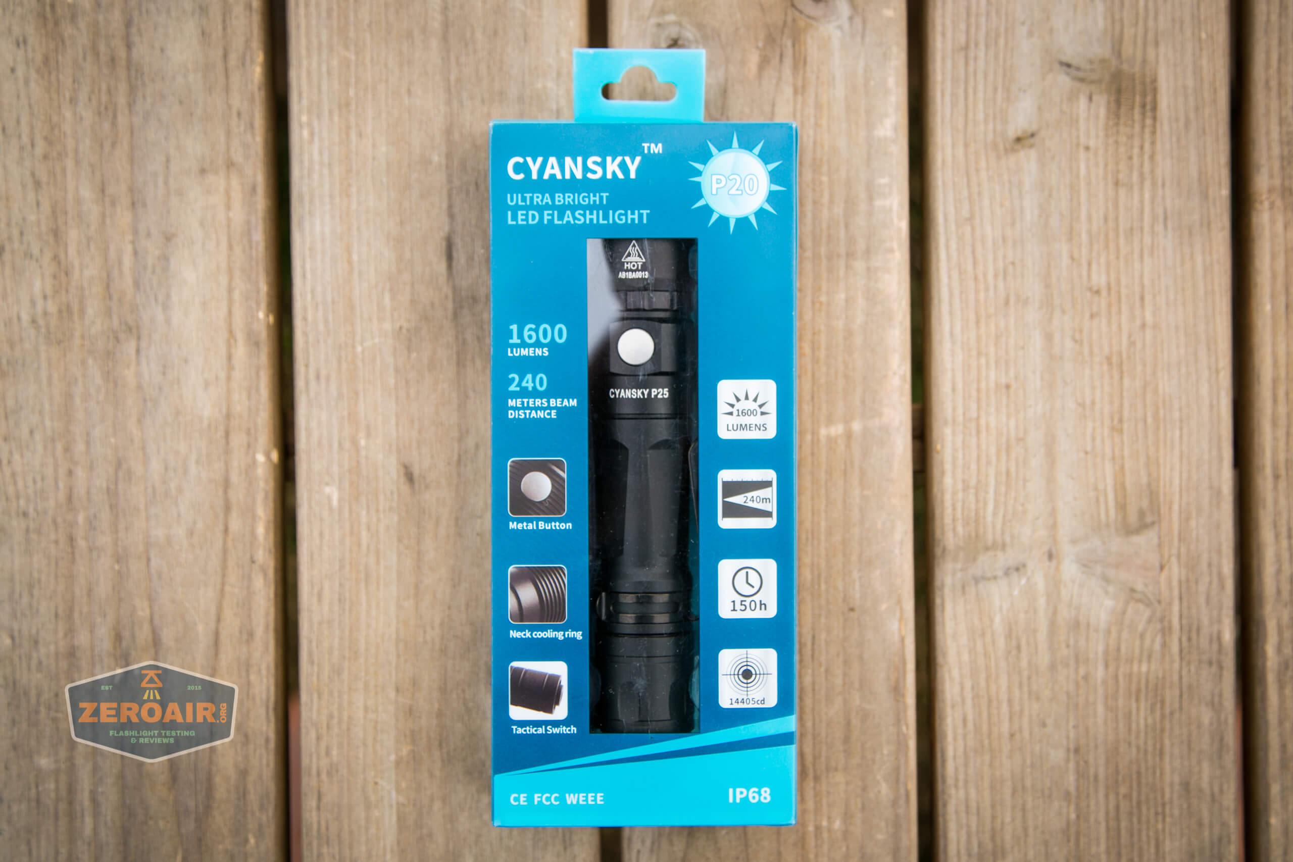 Cyansky P25 Flashlight wrong box