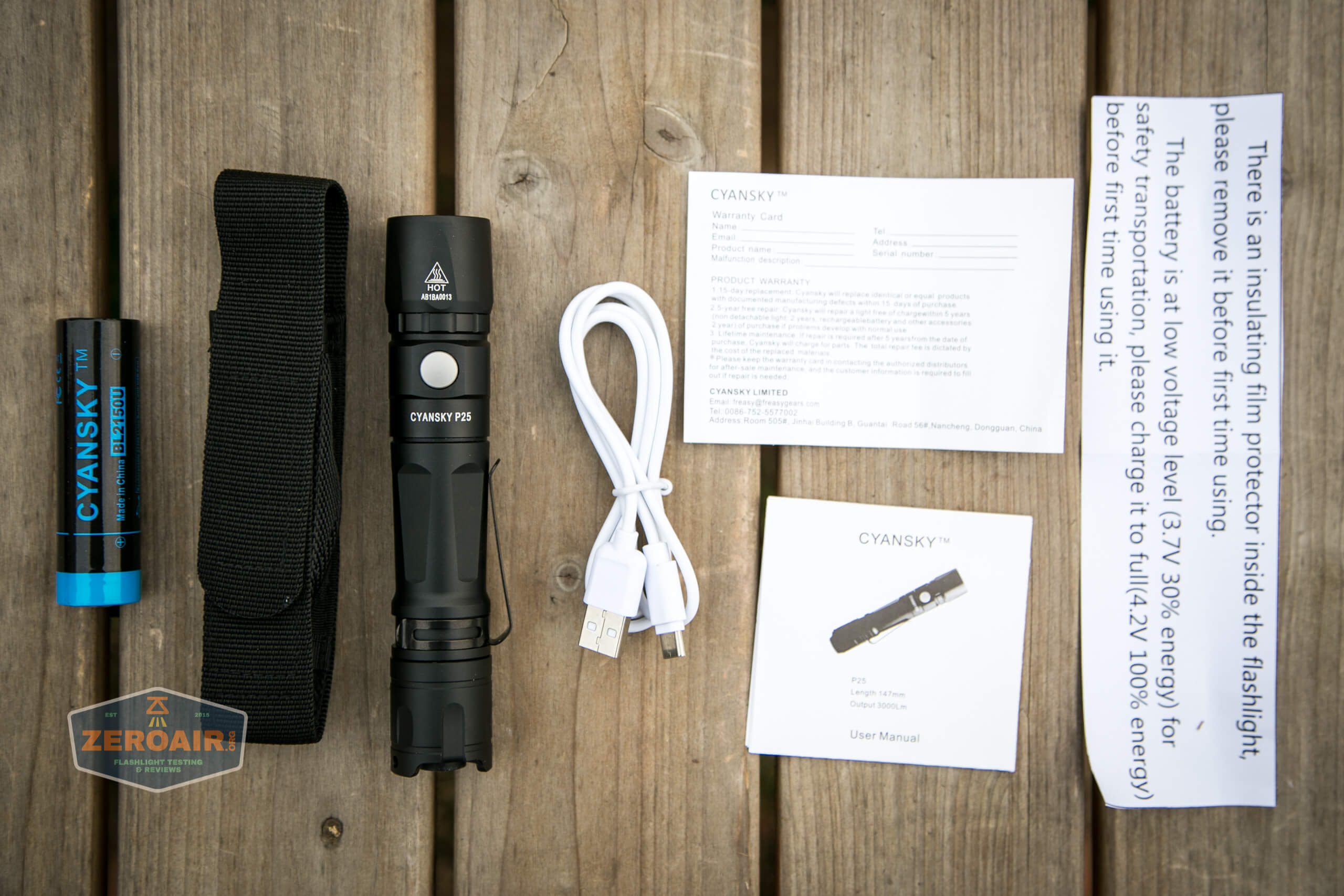 Cyansky P25 Flashlight what's included