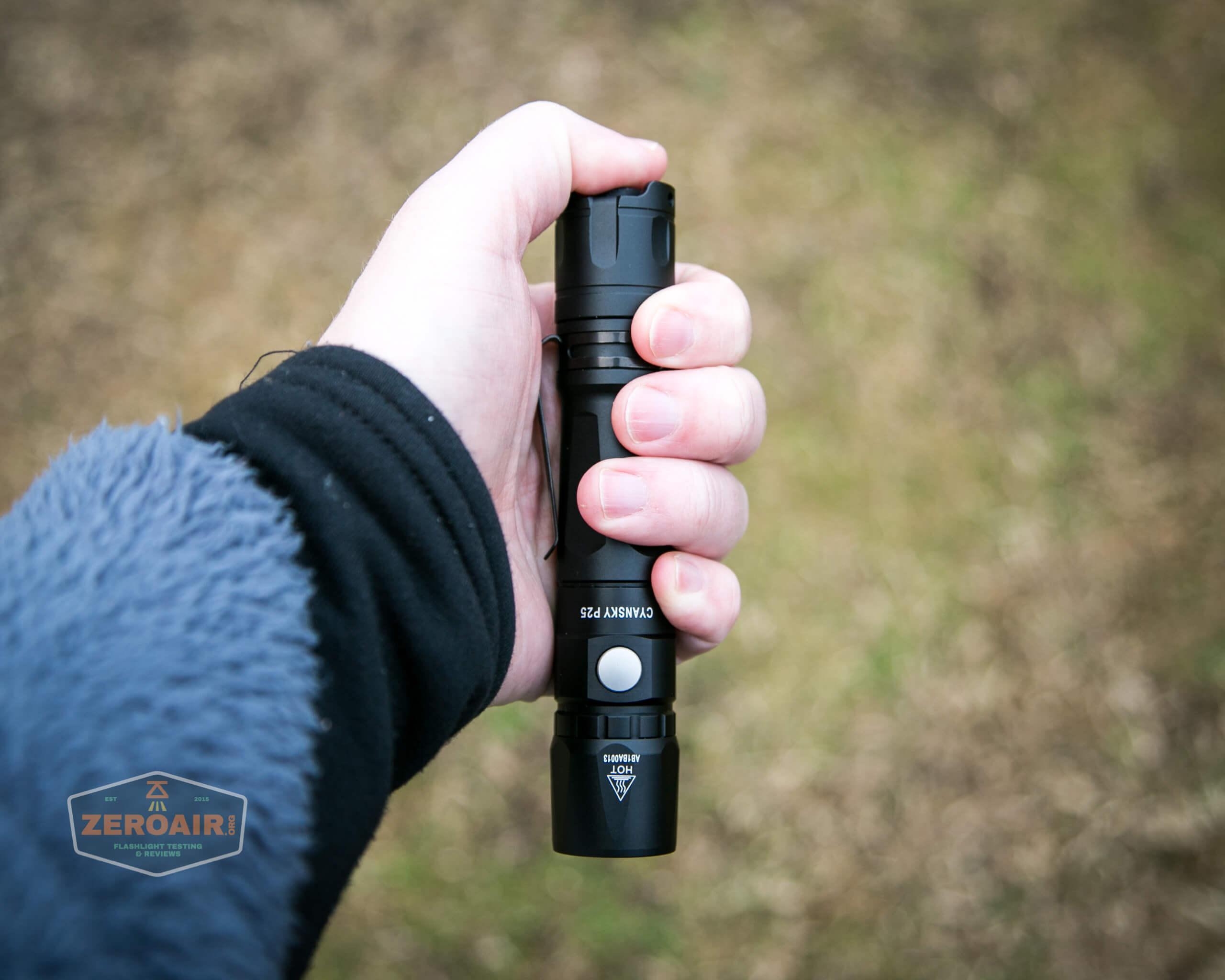 Cyansky P25 Flashlight in hand