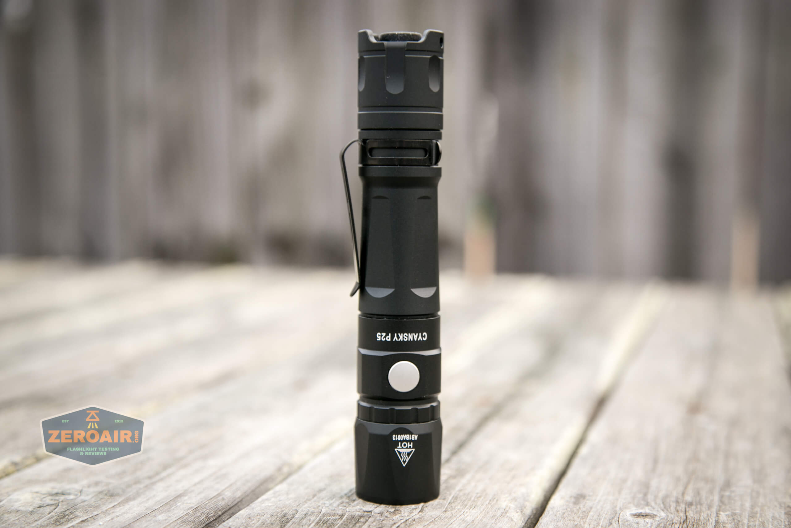Cyansky P25 Flashlight headstanding