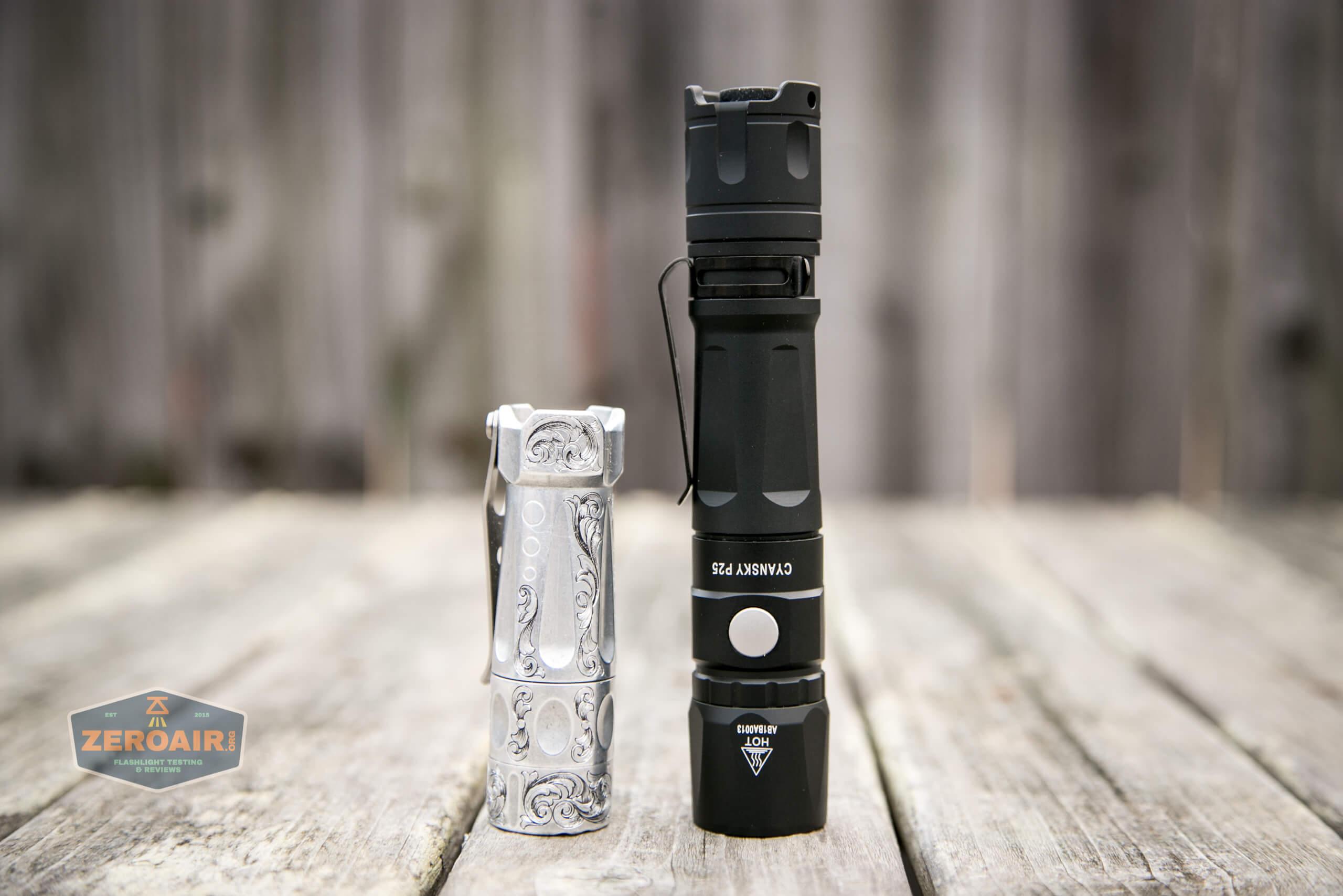 Cyansky P25 Flashlight beside torchlab boss 35