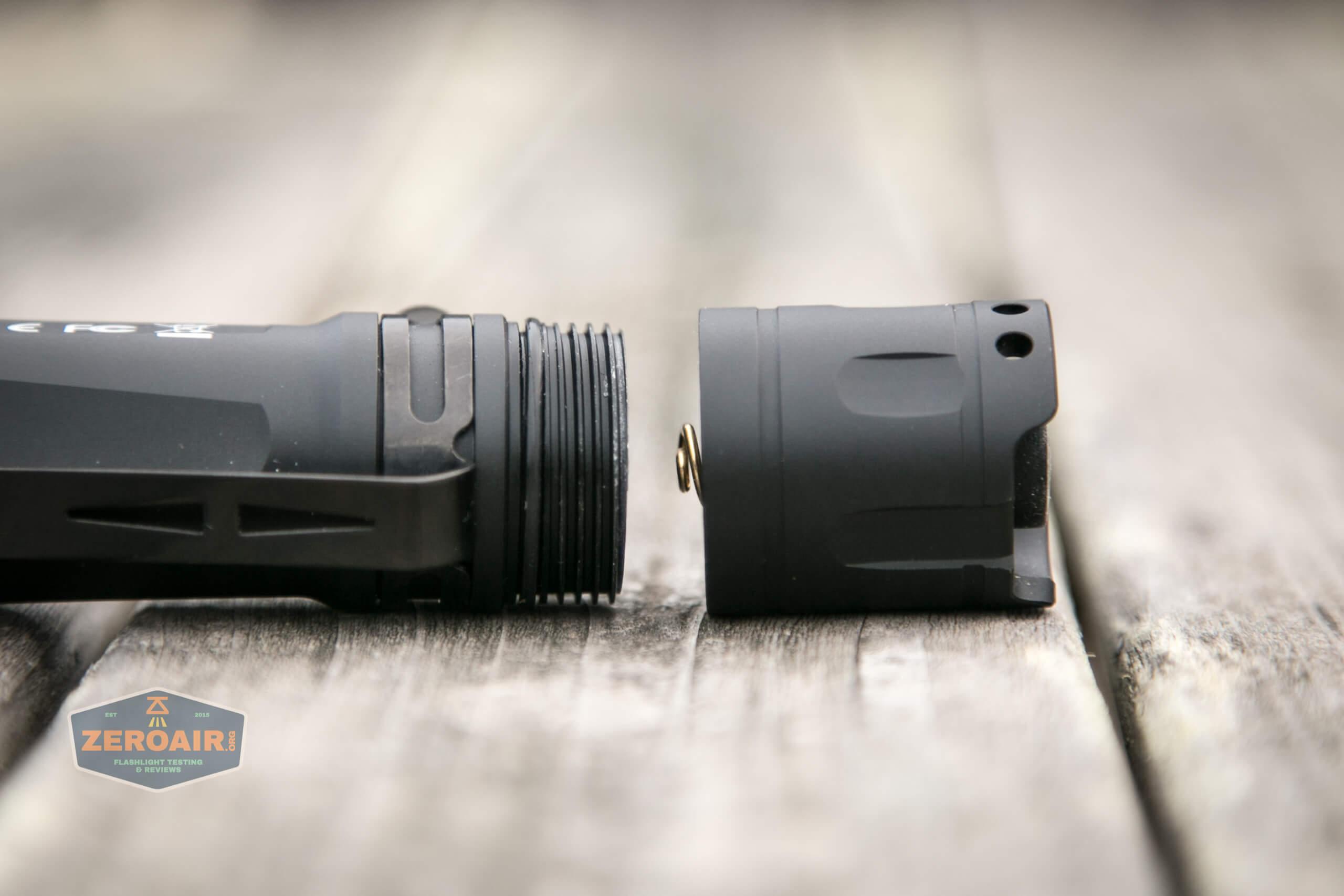 Cyansky P25 Flashlight tailcap off