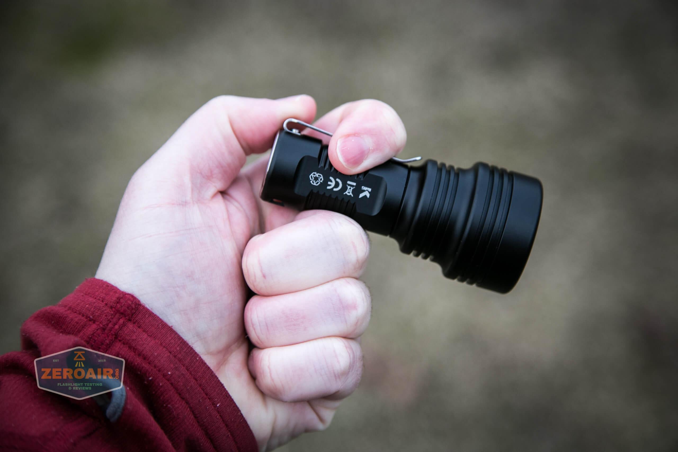 Manker MC13 thrower flashlight 18350 in hand