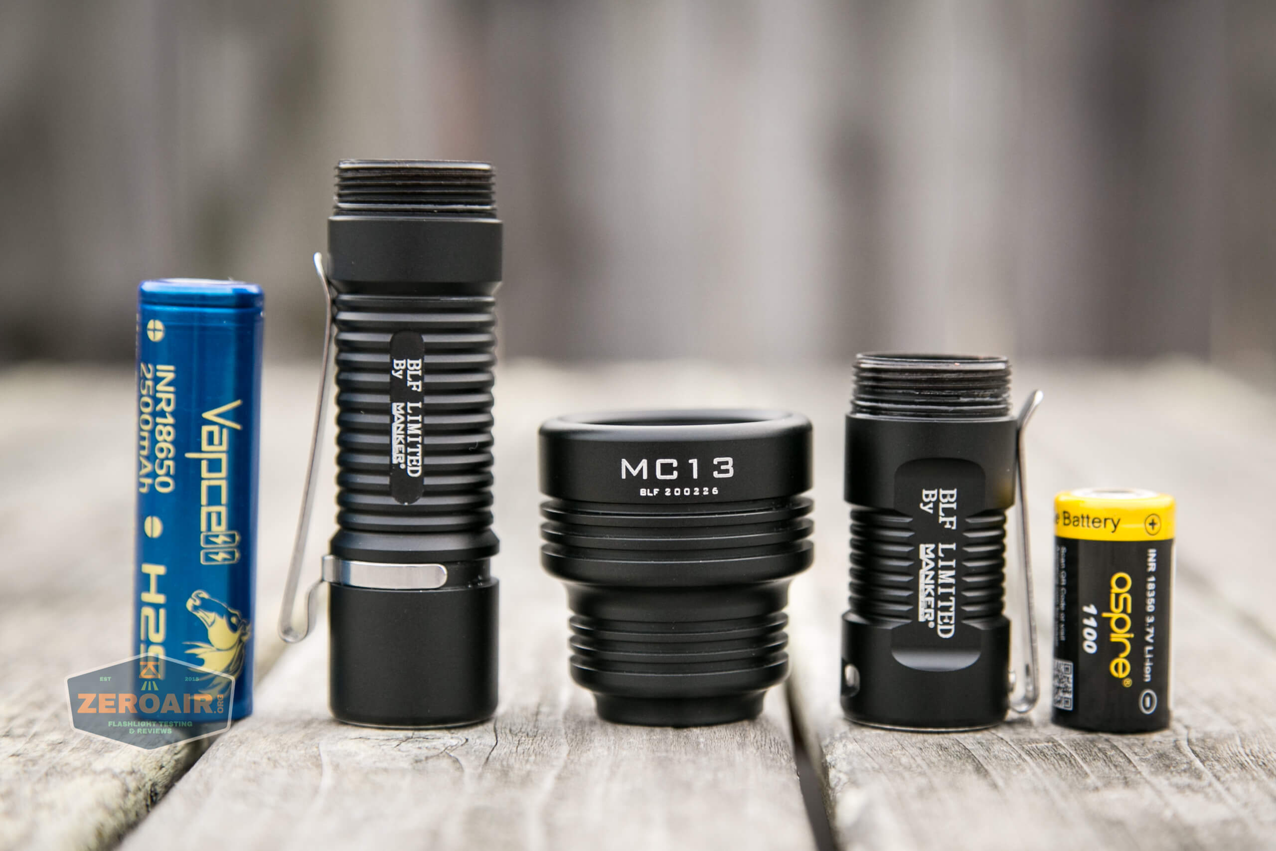 Manker MC13 thrower flashlight cell tubes with cells
