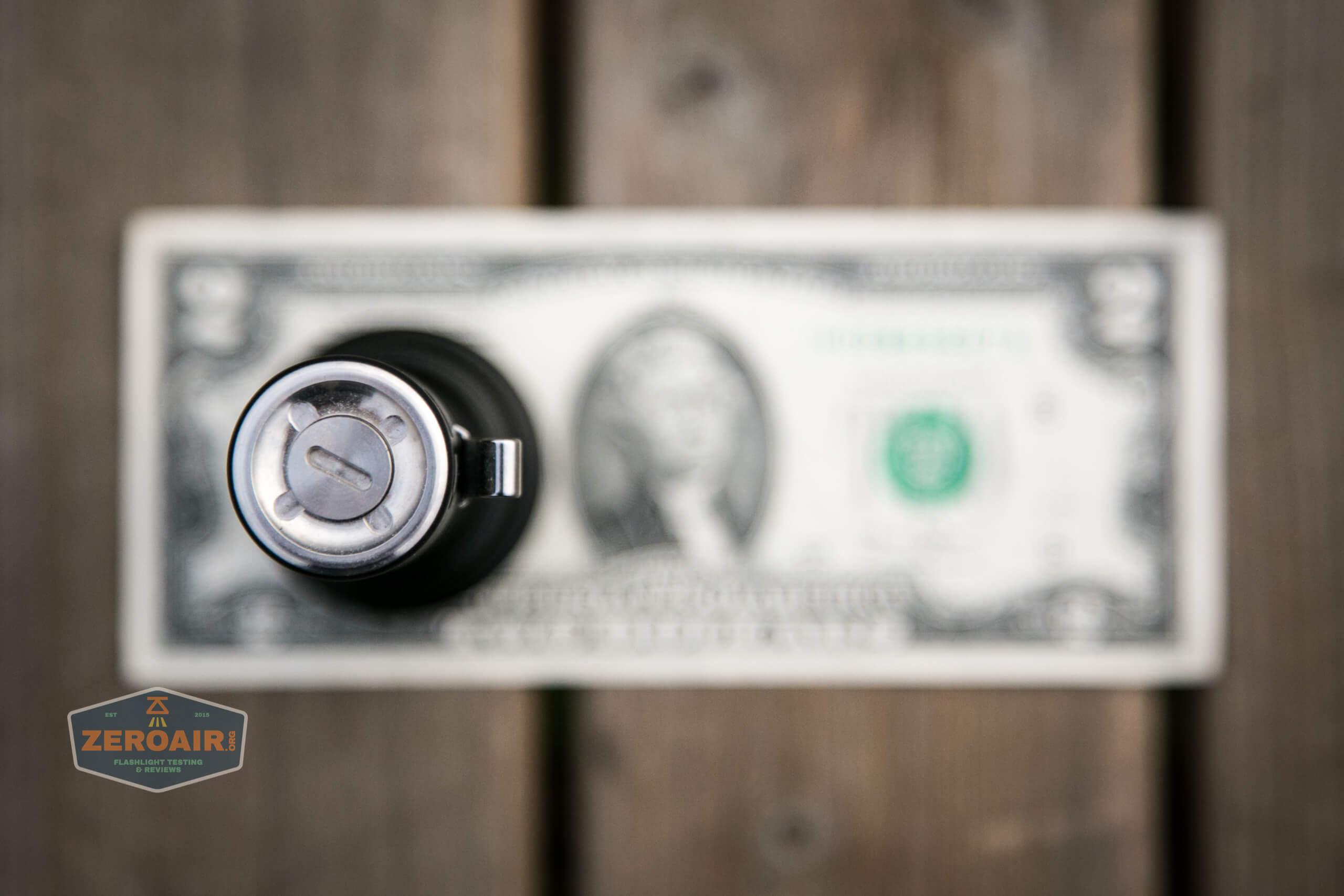 Manker MC13 thrower flashlight 18650 on two dollar bill