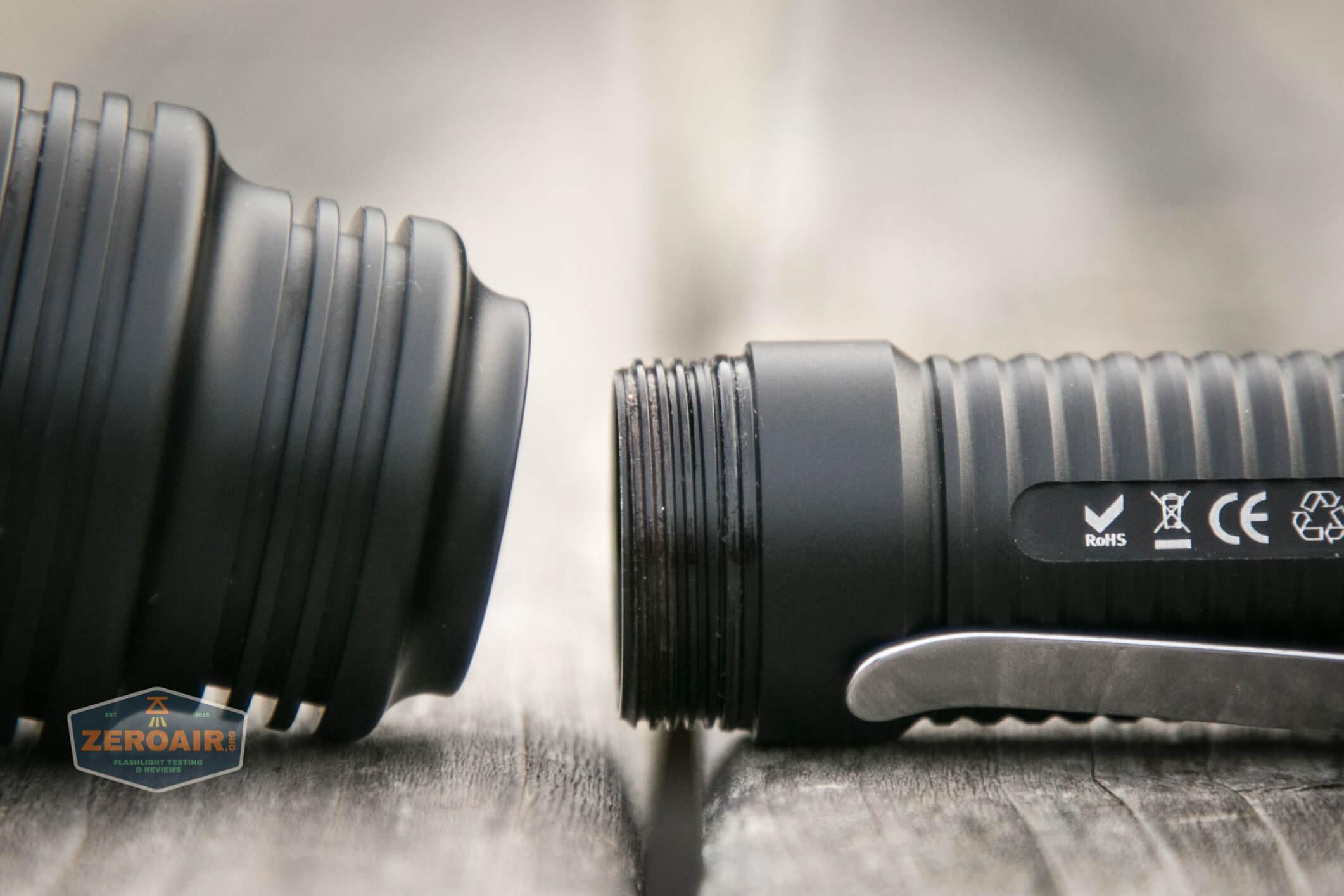 Manker MC13 thrower flashlight 18650 threads