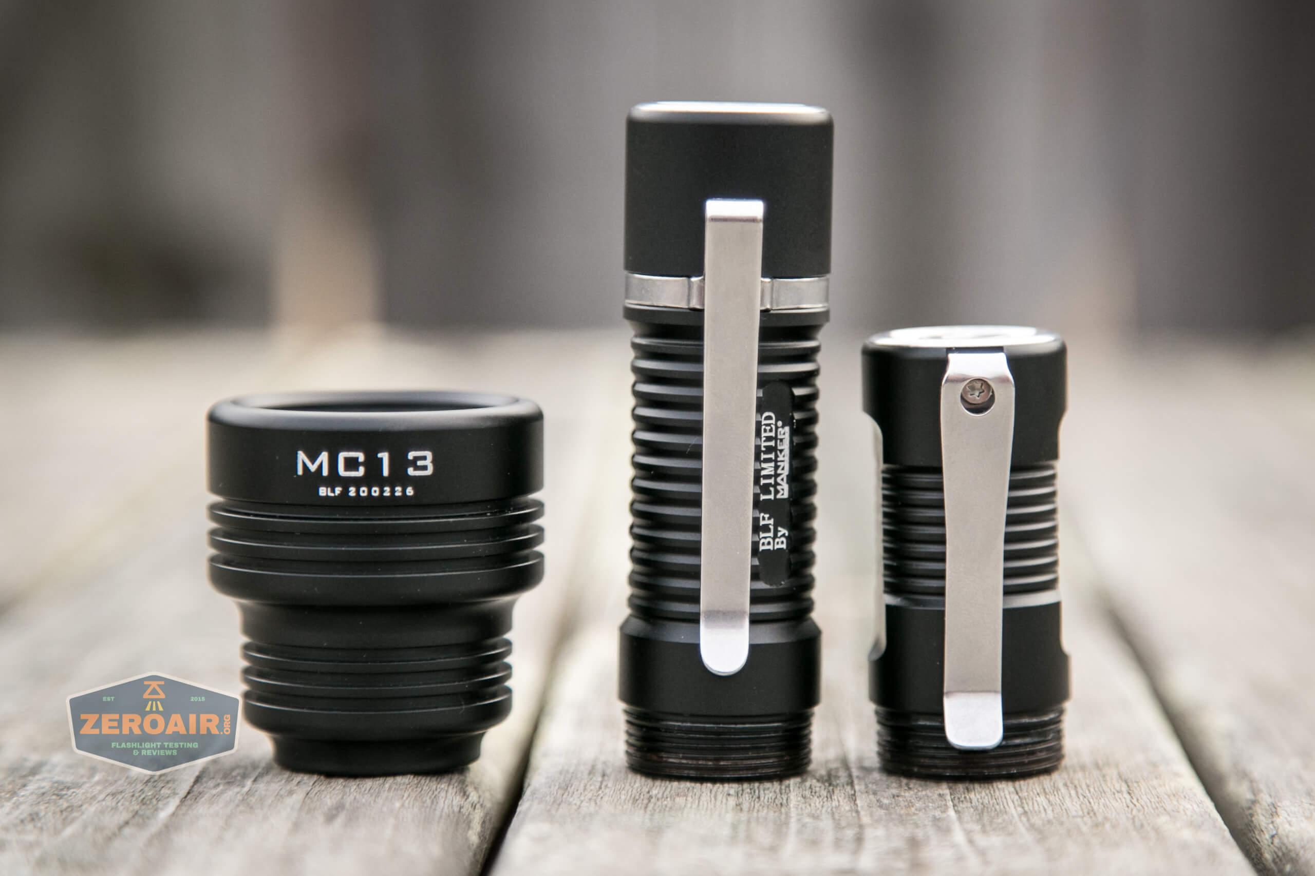 Manker MC13 thrower flashlight both bodies and head