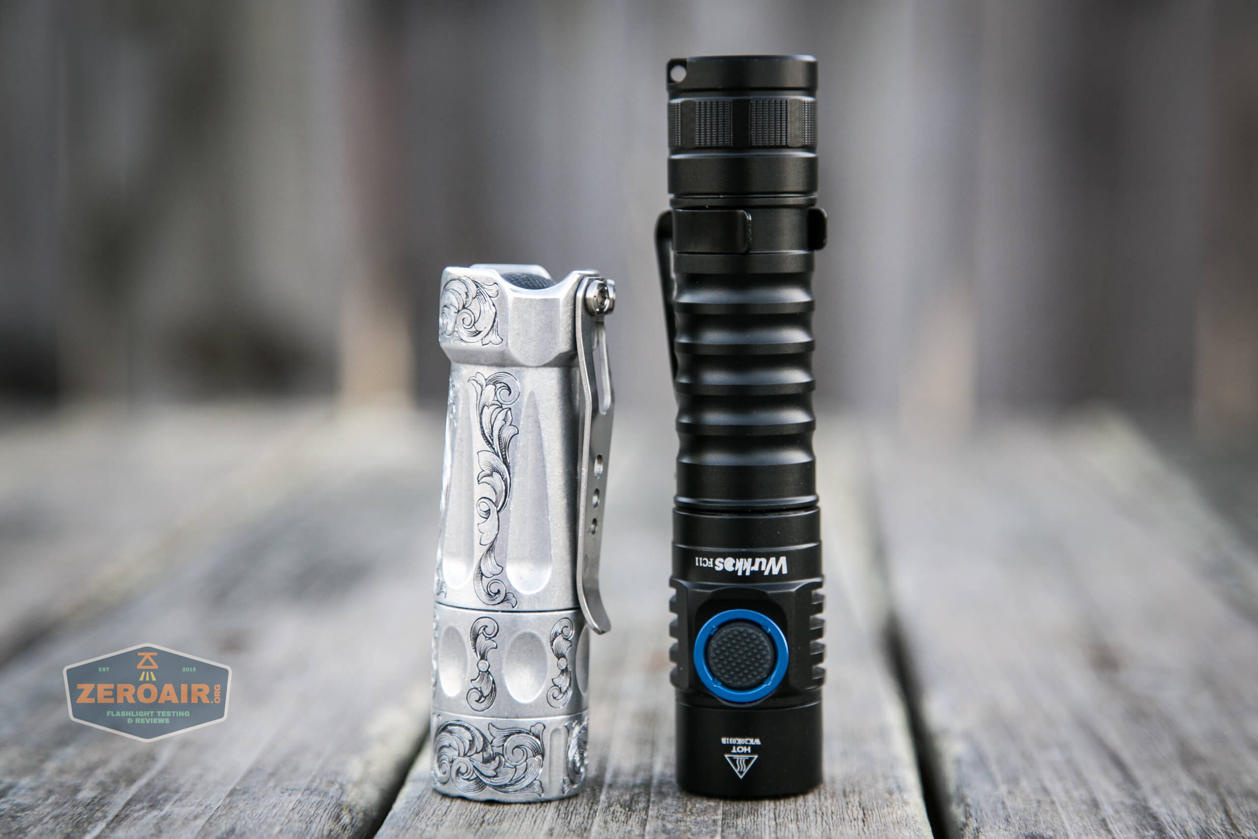 wurkkos fc11 flashlight beside torchlab boss 35