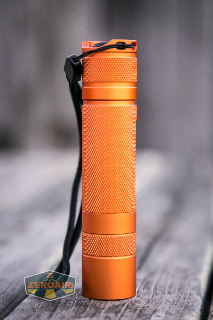 Convoy S21A 21700 Flashlight headstanding showing all sides