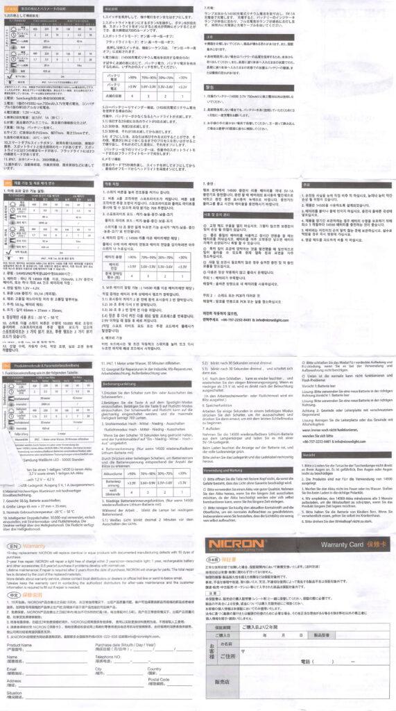 Nicron H15 Headlamp manual