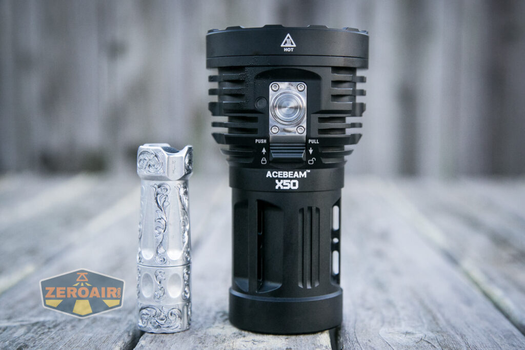 Acebeam X50 Searchlight beside torchlab boss 35