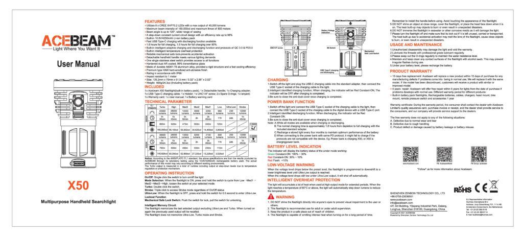 Acebeam X50 Searchlight manual