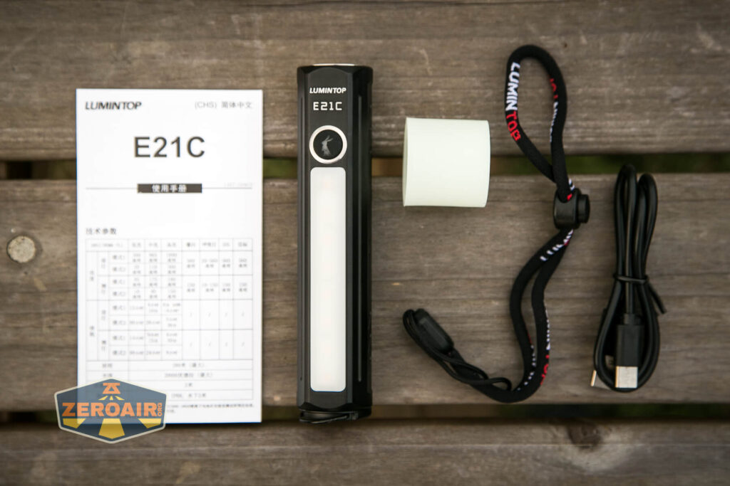 Lumintop E21C Flashlight what's included