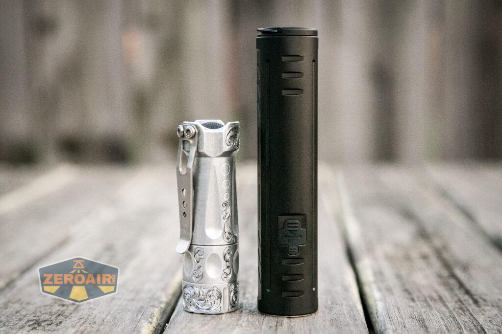 Lumintop E21C Flashlight beside torchlab boss 35