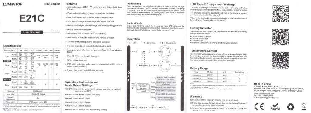 Lumintop E21C Flashlight manual