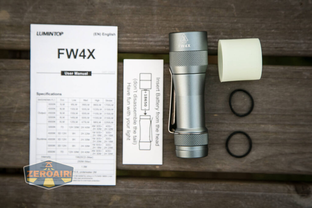 Lumintop FW4X Variable CCT Flashlight what's included