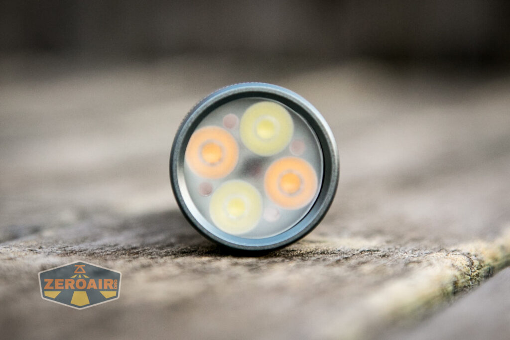 Lumintop FW4X Variable CCT Flashlight emitters and optic