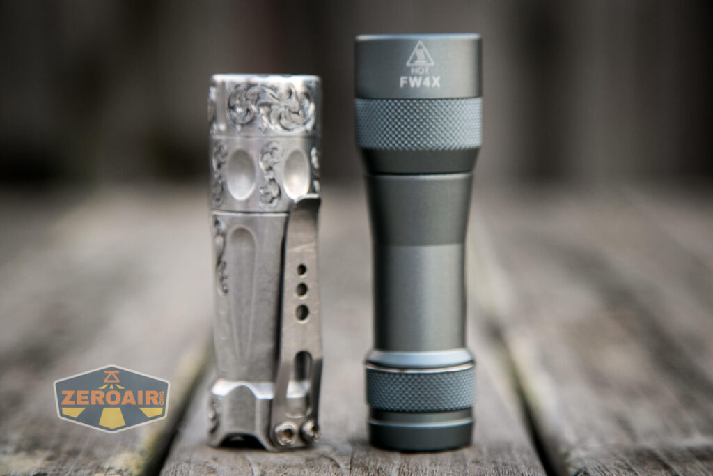 Lumintop FW4X Variable CCT Flashlight beside torchlab boss 35