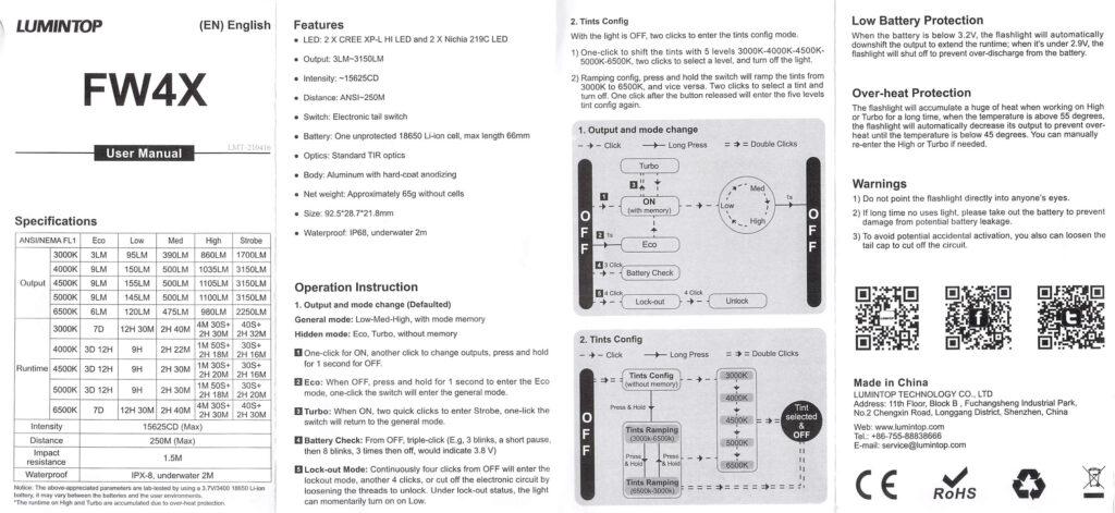 Lumintop FW4X Variable CCT Flashlight manual