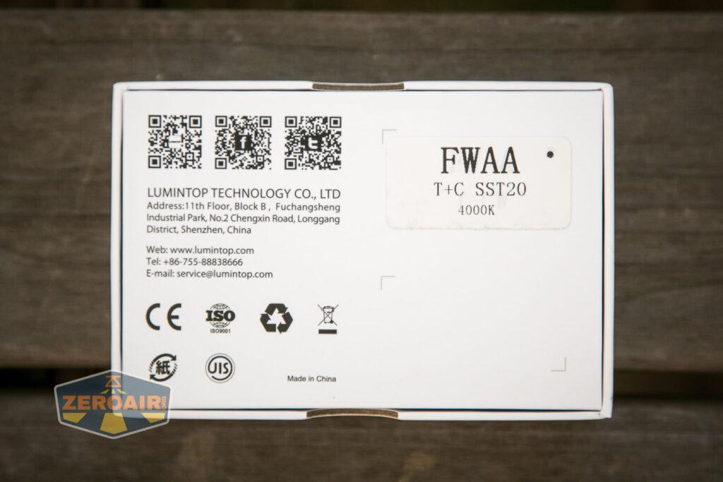 Lumintop FWAA TiCU 14500 flashlight package