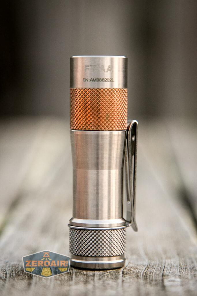 Lumintop FWAA TiCU 14500 flashlight tailstanding showing all sides