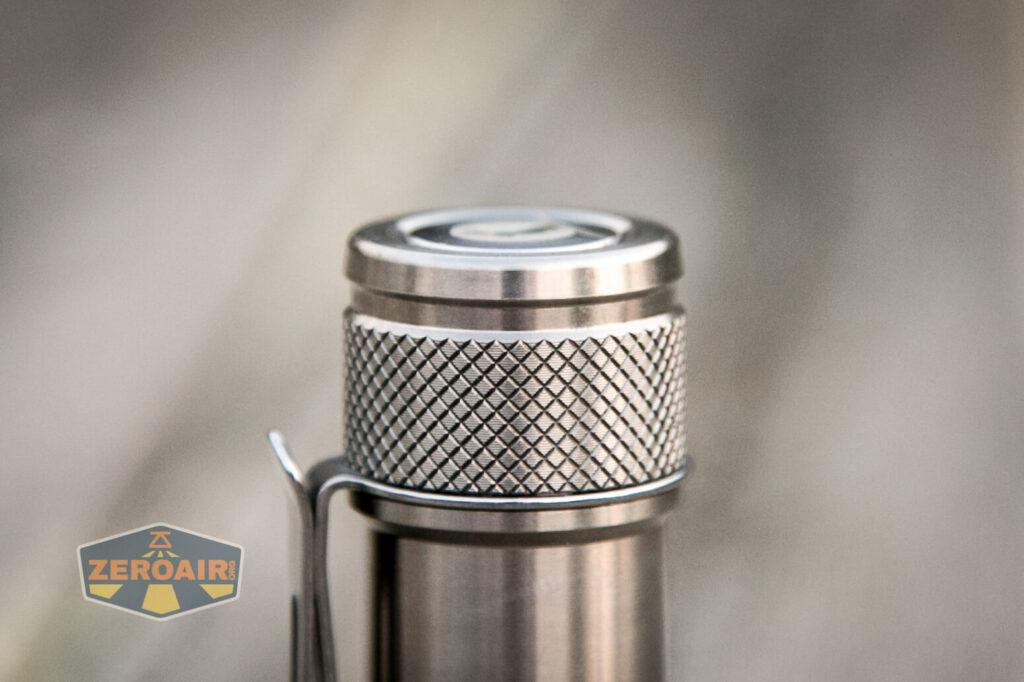 Lumintop FWAA TiCU 14500 flashlight tailcap knurling