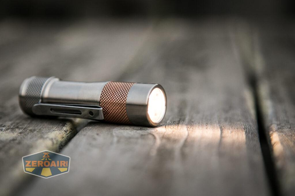 Lumintop FWAA TiCU 14500 flashlight emitters on
