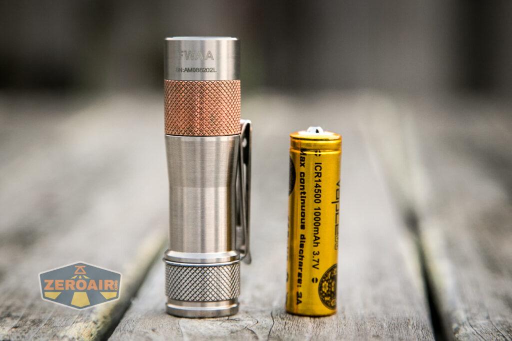 Lumintop FWAA TiCU 14500 flashlight with 14500