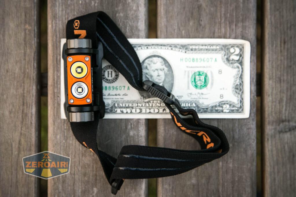 Nicron H15 Headlamp on two-dollar bill