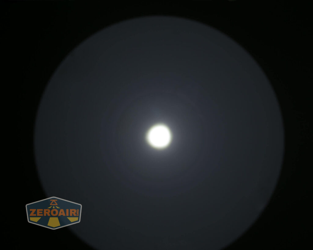 Noctigon K1 21700 Flashlight beamshot on ceiling
