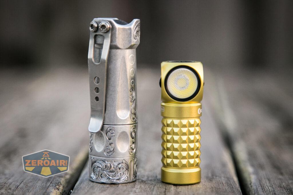 Olight Perun Mini Kit Headlight beside torchlab boss 35