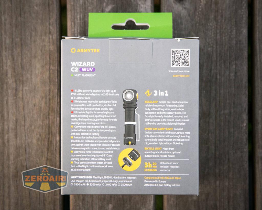 Armytek Wizard C2 WUV Headlamp box