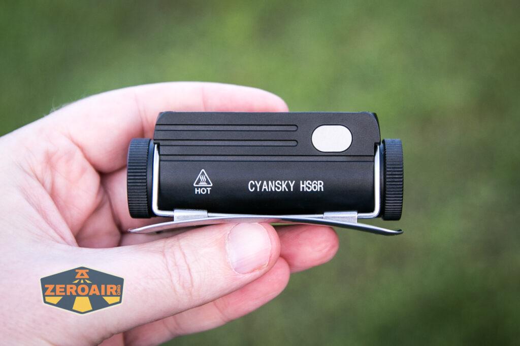 Cyansky HS6R headlamp in hand